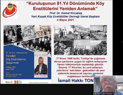 """Prof. Dr. Kemal Kocabaş  """"81. Kuruluş yıldönümünde Yeniden Köy Enstitülerini Düşünmek"""" 4 Mayıs 2021"""